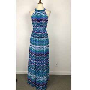 Eliza J Print Neck Tie Maxi Lined Dress